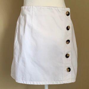TOPSHOP MOTO White Denim Mini Skirt, Size 6